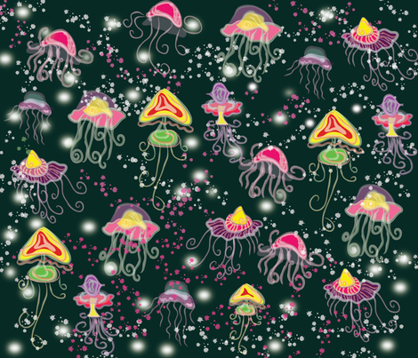 Sparkling jellyfish fabric by silviana on Spoonflower - custom fabric