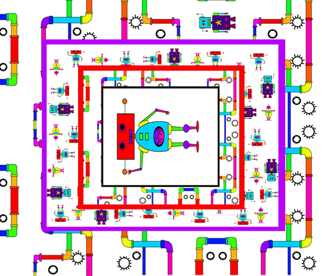 Robot cheat fabric by lerhyan on Spoonflower - custom fabric
