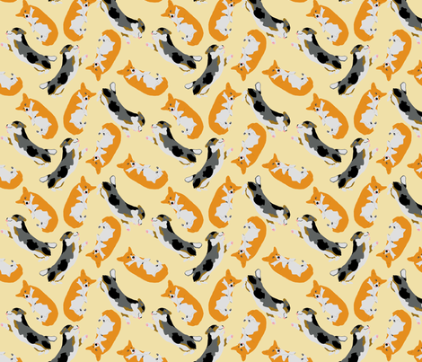 Welsh Corgi Ditzy Derp - tan fabric by rusticcorgi on Spoonflower - custom fabric