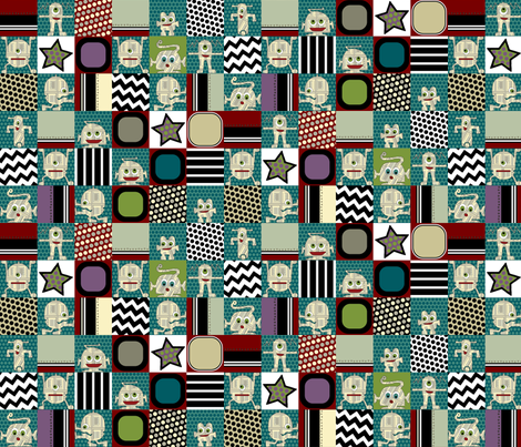 zakbot patches fabric by scrummy on Spoonflower - custom fabric