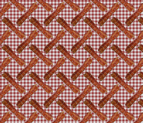 BACON! Red Gingham fabric by seidabacon on Spoonflower - custom fabric