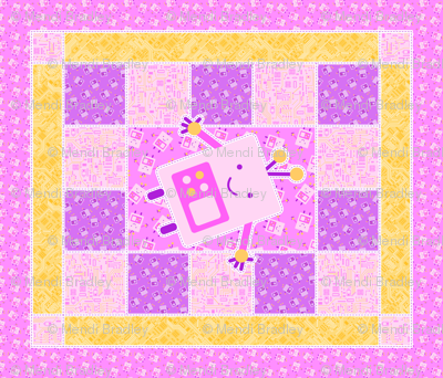 Pink Baby Robot Cheater Quilt