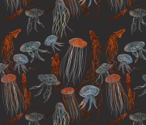 Deep Sea Jellyfish 2250 fabric by wren_leyland on Spoonflower - custom fabric