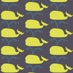 Whales - charcoal yellow