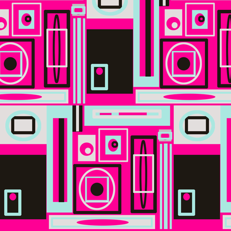 Atomic  House - pink fabric by bettinablue_designs on Spoonflower - custom fabric