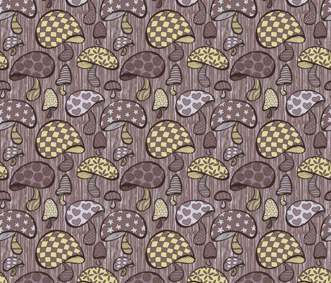 Wonderland Mushrooms - Purple fabric by noaleco on Spoonflower - custom fabric