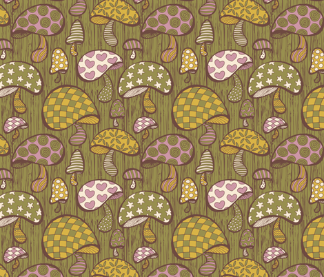 Wonderland Mushrooms - Green fabric by noaleco on Spoonflower - custom fabric