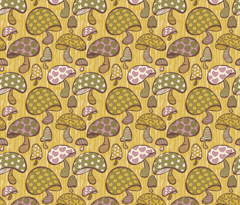 Wonderland Mushrooms - Yellow fabric by noaleco on Spoonflower - custom fabric