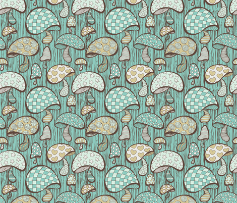 Wonderland Mushrooms - Blue fabric by camila_jafelice on Spoonflower - custom fabric