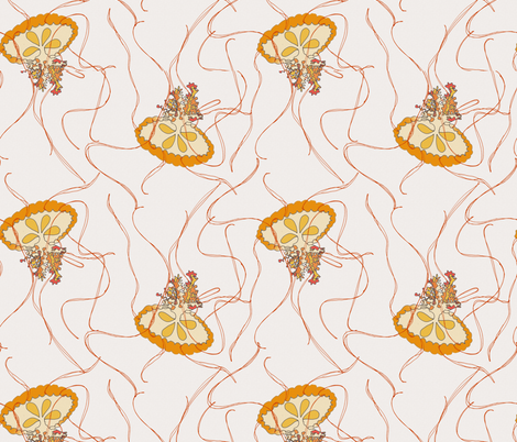 Medusa Jellies on cream fabric by wiccked on Spoonflower - custom fabric