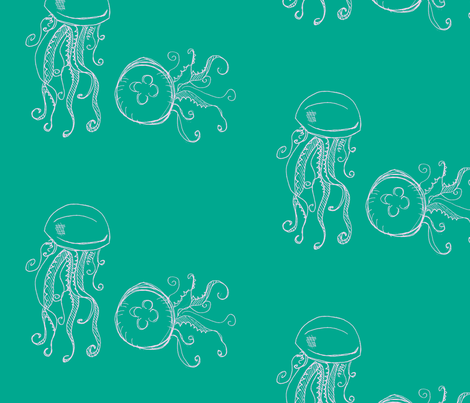 jellyfish-aqua and pink fabric by madamsalami on Spoonflower - custom fabric