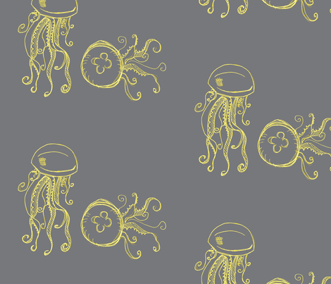 jellyfish-dark grey and yellows fabric by madamsalami on Spoonflower - custom fabric