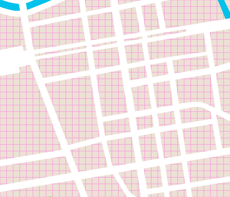 berlin map pink tan grid 1 yard repeat