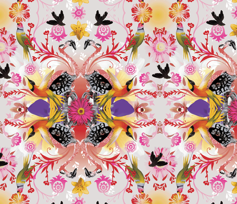 Kaleidoscope Flamingos fabric by milliondollardesign on Spoonflower - custom fabric