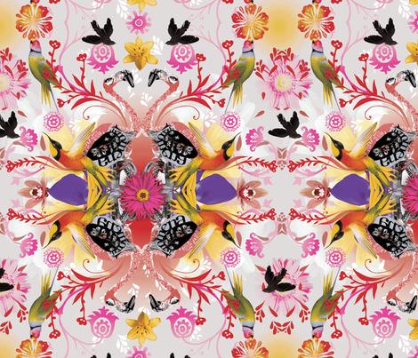Kaleidoscope Flamingos fabric by milliondollardesign on Spoonflower - custom fabric