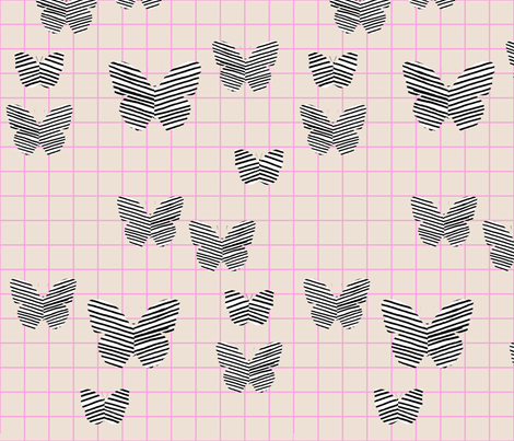 stripe butterfly pink tan grid fabric by cristinapires on Spoonflower - custom fabric