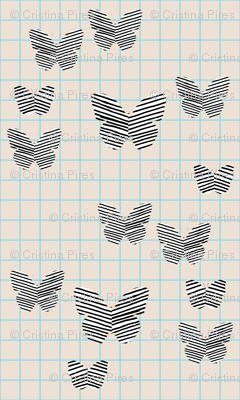 stripe butterfly blue tan grid