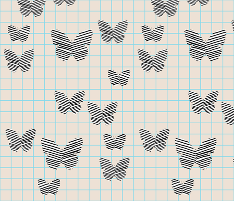 stripe butterfly blue tan grid fabric by cristinapires on Spoonflower - custom fabric