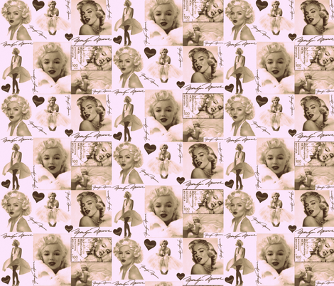 MARILYN MONROE AFTER MY HEART fabric by bluevelvet on Spoonflower - custom fabric