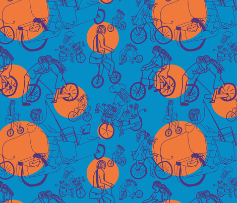 Bicycles fabric by alexsan on Spoonflower - custom fabric
