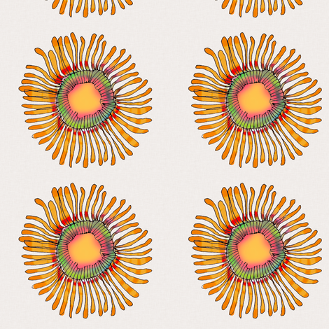 Flower Jelly on cream fabric by wiccked on Spoonflower - custom fabric