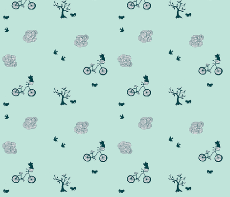 bicycle green fabric by 2reneevk on Spoonflower - custom fabric