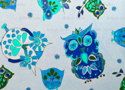 Owls - bluegreen