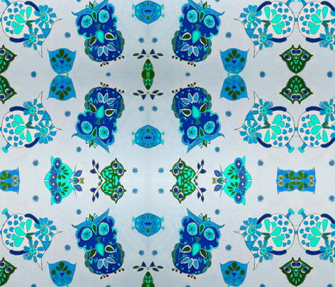 blugreen owls fabric by bettinablue_designs on Spoonflower - custom fabric