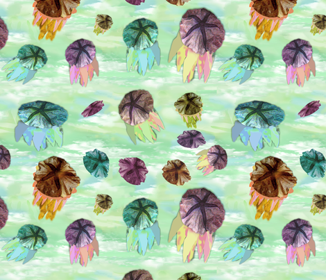 palomas_jelly_fish_garden fabric by paloma_le_sage on Spoonflower - custom fabric