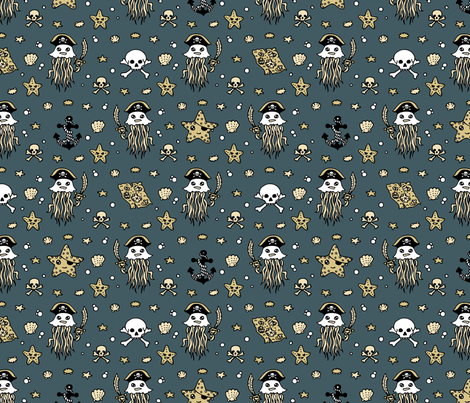 Jelly Pirates Blue fabric by teja_jamilla on Spoonflower - custom fabric