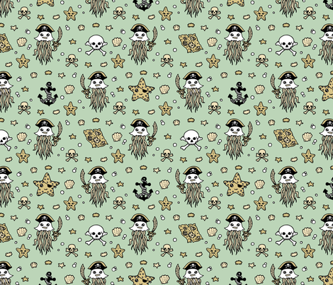 Jelly Pirates Pale Blue fabric by teja_jamilla on Spoonflower - custom fabric