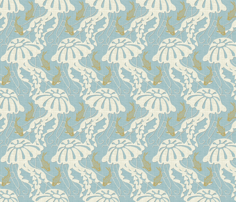 jellyfish dance half scale fabric by littlerhodydesign on Spoonflower - custom fabric