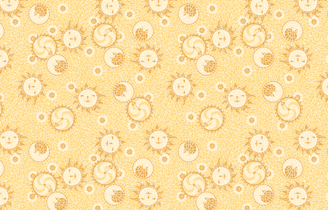 Mosaic Sun, Moon, and Gears ©2012 by Jane Walker fabric by artbyjanewalker on Spoonflower - custom fabric