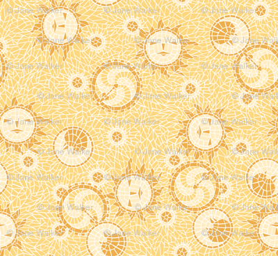 Mosaic Sun, Moon, and Gears -- Small version ©2012 by Jane Walker