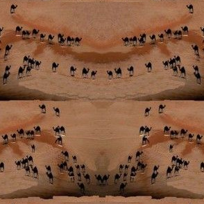 Tiny Camels Crossing Vast Desert