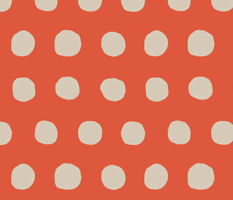 Jumbo Dots in tangerine/khaki fabric by domesticate on Spoonflower - custom fabric