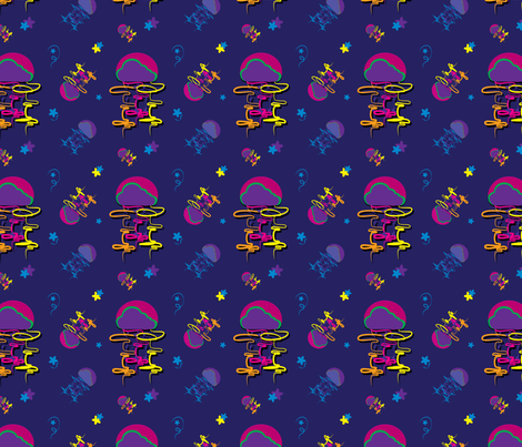 Neon Jellyfish Nights fabric by vloomthong on Spoonflower - custom fabric