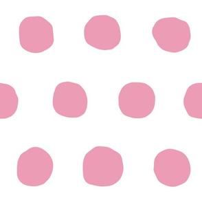 Jumbo Dots in peony/white
