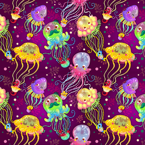 Jellyfish Balloon Parade | Rainbow fabric by irrimiri on Spoonflower - custom fabric