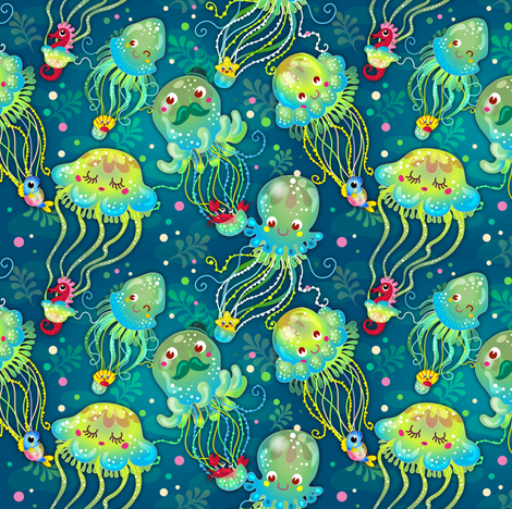 Jellyfish Balloon Parade - Aqua fabric by irrimiri on Spoonflower - custom fabric