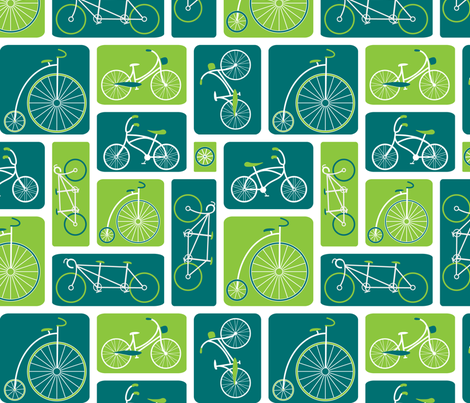 Retro Bicycle Love (Green) - by ebygomm fabric by upcyclepatch on Spoonflower - custom fabric