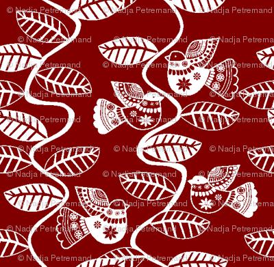 oiseau feuille fond rouge S