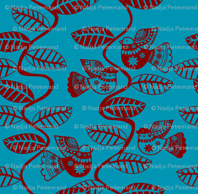 oiseau feuille rouge fond turquoise M