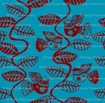 oiseau feuille rouge fond turquoise M