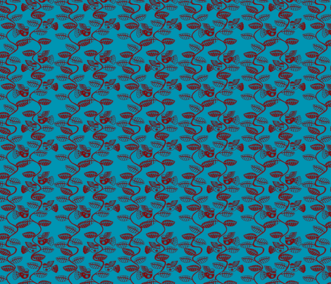 oiseau feuille rouge fond turquoise S fabric by nadja_petremand on Spoonflower - custom fabric