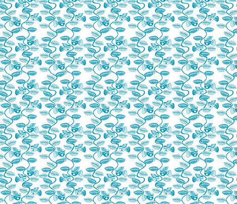 oiseau feuille turquoise fond blanc S fabric by nadja_petremand on Spoonflower - custom fabric