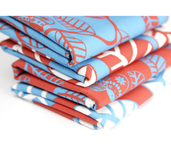 feuille turquoise fond rouge M