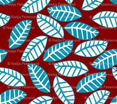 feuille turquoise fond rouge S