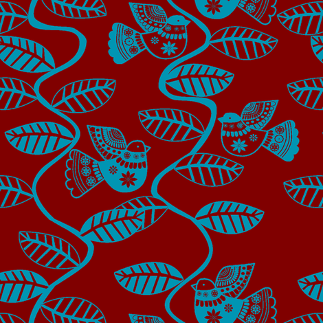 set oiseau feuille rouge turquoise fabric by nadja_petremand on Spoonflower - custom fabric