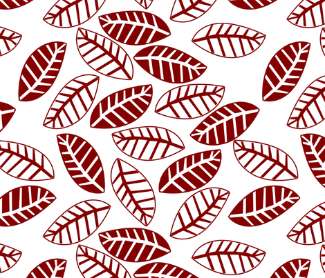 set oiseau et feuille rouge fabric by nadja_petremand on Spoonflower - custom fabric
